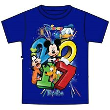 Disney Adult T-Shirt 2017 Dated Stacked Florida Royal Blue