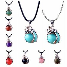 Natural Gemstone Silver Frog Wrap Ball Healing Chakra Pendant Necklace Jewelry
