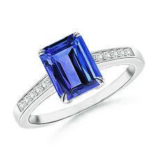 Claw-Set Emerald Cut Tanzanite Cocktail Ring with Diamond 14k White Gold Size 5