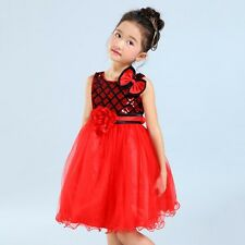 Kids Girls Dress Bow Flower Princess Formal Party Tutu Dresses Costume 2-10Y