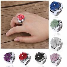 Creative Girl Gift Ring Watch Elastic Finger Steel Round Dial Quartz