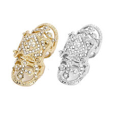 Gold/Silver Plated Alloy Rhinestone Full Finger Cross Joint Knuckle Hollow Ring
