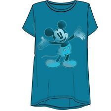 Disney Womens Fashion Top Hi Lo Touch O Mickey Mouse Teal Blue