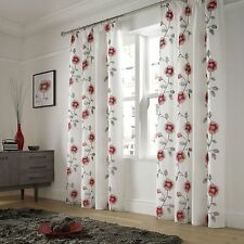 Poppies Red Lined Voile Ready Made Pencil Pleat Tape Top Curtains