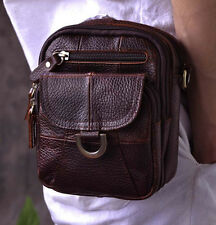 Men Genuine leather Retro shoulder bag small Messenger bag Fanny Pack Waist bag