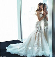 White Ivory Mermaid Applique Bridal Gown Wedding Dress Size 2 4 6 8 10 12 14 16+