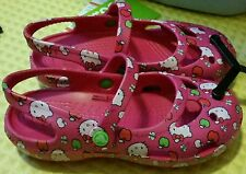 NEW Crocs Hello Kitty Mary Jane Magenta Pink Girls Size 10 or 12 - FREE SHIPPING