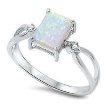 925 Sterling Silver WHITE AUSTRALIAN OPAL & CZ All Sizes Available SIZE 10 Ring