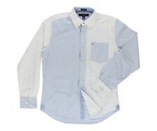 Tommy Hilfiger Men's Collar Button Down White/Blue Stripes