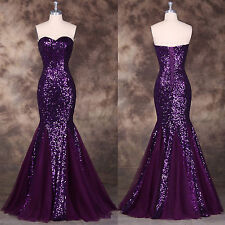 Purple Sequined Long Mermaid Formal Evening Gown Prom Dress Wedding Ball Dress