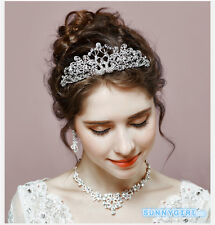 fantastic crystal exquisite bridal wedding crown necklace earrings accessories