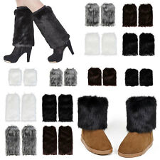 UK Faux Fur Leg Warmers Fluffy Shaggy Women Boot Shoes Covers Ankle Sleeve Muffs