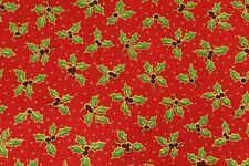 Christmas Small Holly Berry Fabric 100% Cotton - Per Metre / Fat Quarter RED