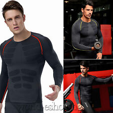 Men Compression Base Layer Top Long Sleeve Thermal Gym Sports Tight T-shirt Tops
