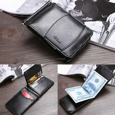 Men's New Genuine Leather Bifold Money Clip Wallet ID Credit Card WT88