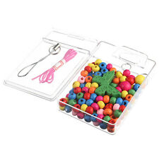 DIY Kids Mixed Colorful Oblate Small Wood Beads Plastic Box Bracelet Making Toy