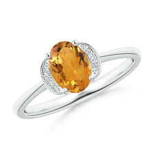 Solitaire Oval Natural Citrine Diamond Accents Ring 14k White Gold Size 3-13