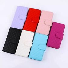 Flip Wallet Case Grid  Soft Sheepskin Leather Case Cover For Samsung S4 S5 S6