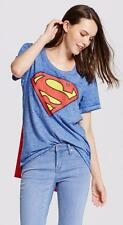 Womens SUPERMAN T-SHIRT w/ CAPE costume Halloween SUPERGIRL Size Med Large NWT
