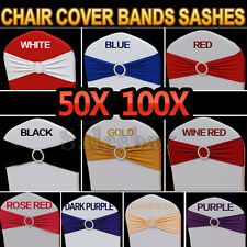 New Lycra Spandex Chair Cover Bands Sashes With Buckle Wedding Event Banquet 50