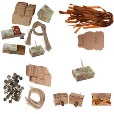 50Pcs Vintage Rustic Kraft Paper Chocolate Candy Gift Boxes Wedding Party Favors