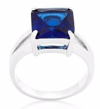 Silver Rhodium Plated Simulated Sapphire Ring Blue Cubic Zirconia Size 6 7 8 10