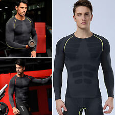 Mens Base Layer Compression Long Sleeve Tight Thermal Sport Fitness T-Shirts Top