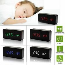 Old Style Electronic LED Display Wooden Alarm Clock Temperature Sounds Control