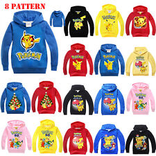 Kids Boys Girls Cartoon Hoodies Sweatshirts Pokemon Cosplay Casual Top Outerwear