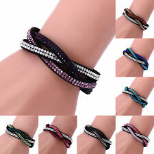 ALL Charm Rhinestone Leather Wrap Crystal Multilayer Bracelets Bangles for Women