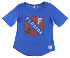 Distant Replays Womens Florida Gators College Rounded Bottom T Shirt Royal Blue