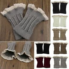 US LOCAL Womens Crochet Knit Lace Trim Leg Warmers Cuffs Toppers Boot Socks