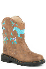 Roper Horse Flowers Kids Tan Faux Leather Girls Western Boots