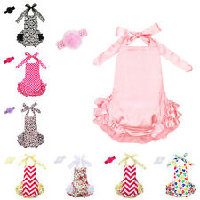 Baby Girl 2PC Toddler Romper Lace Ruffles Petti Jumpsuit Headband Outfit Sunsuit