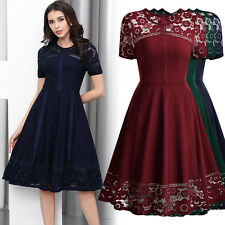 Womens Vintage 1950s Elegant Lace Evening Cocktail Party Business Workwear Dress