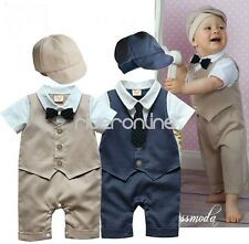 Baby Boys Infant Outfits Jumpsuit Bodysuit Gentleman Coat Suit Romper Hat Set