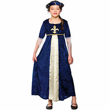Girls Regal Princess Blue Costume Child Role Play Party Halloween Fancy Dress Up