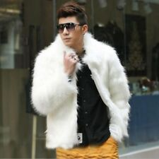 Men winter fashion evening formal long hair faux fur coat jacket black white