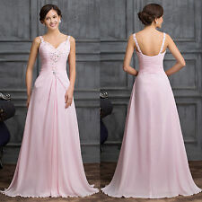 Sexy Women's Beaded Chiffon Wedding Gown Cocktail Evening Party Bridesmaid Dress