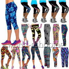 Womens YOGA Sports Fitness Stretchy Leggings Casual Cropped Capri Pants Trousers