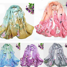 ALL Fashion Women's Printed Flower Soft Silk Chiffon Neck Scarf Wrap Shawl Stole