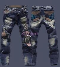 Mens Torn Patches beggar Jeans Straight Leg Casual Ripped Hole Pants Trousers