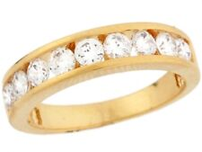 10k / 14k Yellow Gold White CZ Sparkle Eternity Band Ladies Ring