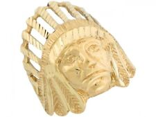 10k or 14k Yellow Gold Native American Tribal Head Large Ring