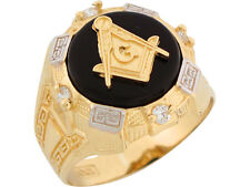 10k / 14k Two Tone Gold Onyx White CZ Freemason Masonic Mens Ring