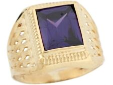 10k / 14k Real Gold Simulated Amethyst February Birthstone Mens Ring