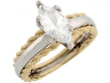 10k or 14k Yellow Gold White 2.9ct CZ Marquise Solitaire Engagement Ring