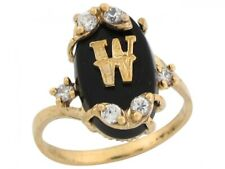 10k / 14k Real Yellow Gold Onyx Letter W Initial with CZ Accents Ring