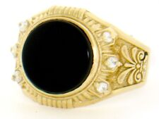 10k / 14k Solid Yellow Gold Round Onyx CZ Mens Ring