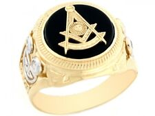 10k / 14k 2 Tone Real Gold Past Master Freemason Masonic CZ Onyx Mens Ring